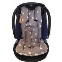Gri Zemin Beyaz Yıldız – Gri Zikzak Bebek Arabası Minderi
