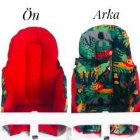 Yeşil Ormanlı - Kırmızı Mama Sandalyesi  Minderi
