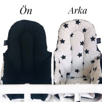 Siyah Yıldız - Siyah Mama Sandalyesi Minderi