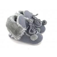 Gri Ponponlu Kürklü Ayakkabı