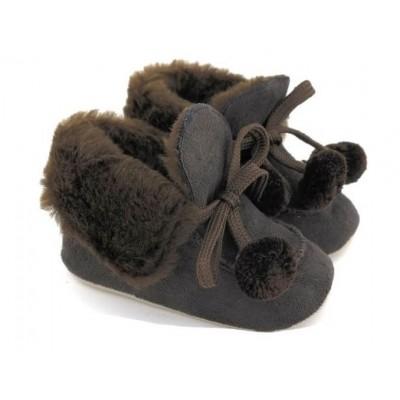 Kahverengi Ponponlu Kürklü Ayakkabı