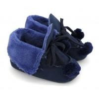 Lacivert Ponponlu Kürklü Ayakkabı