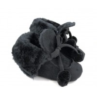 Siyah Ponponlu Kürklü Ayakkabı