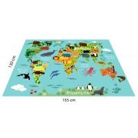Hayvan Haritası Konseptli Oyun Halısı - 155*130