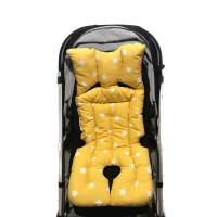 Beyaz Ormanlı - Sarı Hardal Yıldızlı Bebek Arabası Minderi