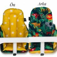 Yeşil Orman - Sarı Hardal Yıldızlı Mama Sandalyesi Minderi