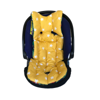 Yeşil Ormanlı - Sarı Hardal Yıldızlı Bebek Arabası Minderi