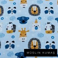 Arka Renk/Desen Seçiniz: Müslin Mavi Hayvanlar Ön Renk/Desen Seçiniz: Müslin Mavi Hayvanlar