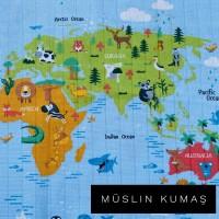 Ön Renk/Desen Seçiniz: Müslin Dünya Haritası Arka Renk/Desen Seçiniz: Müslin Dünya Haritası