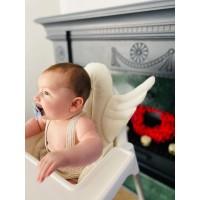 Ekru Melek Kanatlı Mama Sandalyesi Minderi