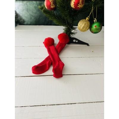 Kırmızı Ponponlu Çorap