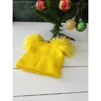 Sarı Ponponlu Triko Bere