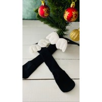 Siyah Melek Kanatlı Çorap