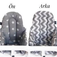 Gri Zemin Beyaz Yıldız – Gri Zikzak Mama Sandalyesi Minderi