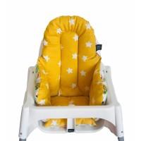 Beyaz Ormanlı - Sarı Hardal Yıldızlı Mama Sandalyesi Minderi