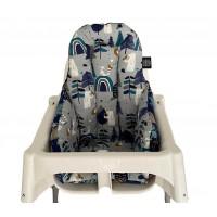 Kutup Ayısı - Lacivert Orman Mama Sandalyesi Minderi