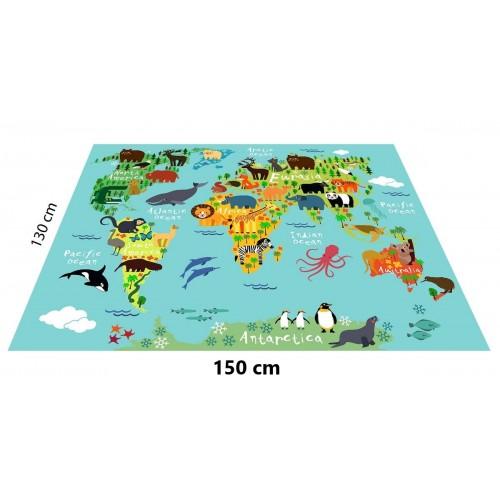 Hayvan Haritası Konseptli Oyun Halısı - 150*130