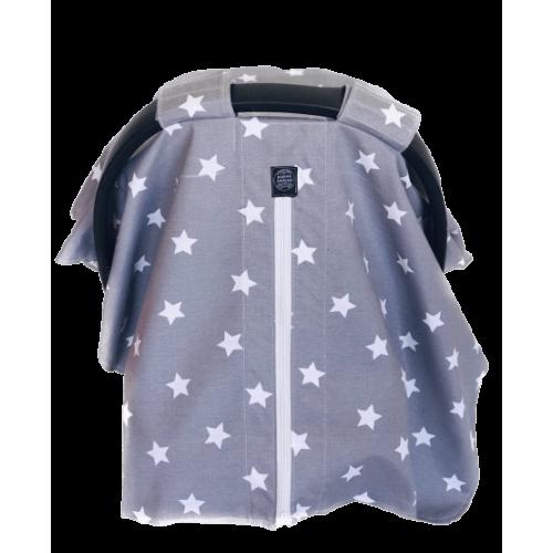 Gri Zemin Beyaz Yıldızlı Koton Puset Örtüsü